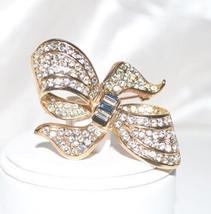Vintage Clear and Blue Rhinestone Ribbon Bow Brooch - $12.00