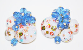 Vintage Opaline Art Glass With Blue Faceted Glass Beads Clip Earrings - €17,28 EUR