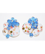 Vintage Opaline Art Glass With Blue Faceted Glass Beads Clip Earrings - $21.00