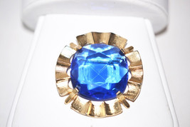 Vintage Signed Star Blue Faceted Rhinestone in Gold Tone Brooch - $28.00