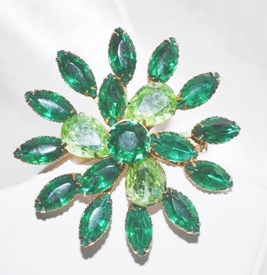Primary image for Vintage Emerald and Light Green Rhinestones Flower Pin Brooch