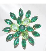 Vintage Emerald and Light Green Rhinestones Flower Pin Brooch - $12.00
