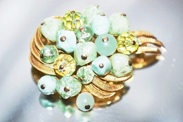 Vintage Signed Coro Mint Green Freeform Beads with Faceted Crystals Brooch - $32.00