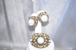 Vintage Signed Germany White Glass and Pearlescent Enamel Brooch Earring... - $68.00