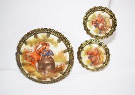 Vintage Signed Western Germany Fragonard Brooch and Earrings - $28.00