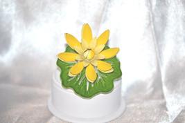 Vintage Yellow Flower Green Lily Pad Enamel High Profile Brooch - $12.00