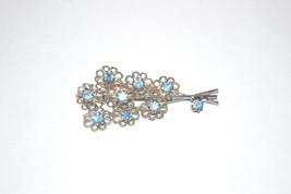 Vintage Icy Blue Rhinestone in Silver Tone Floral Spray Brooch - $8.00