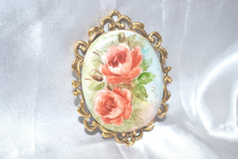 Vintage Signed Hand Painted and Decaled Pair of Rose Brooches - $28.00