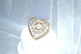 Vintage Aurora Borealis Rhinestone Open Lattice Worked Heart - $8.00