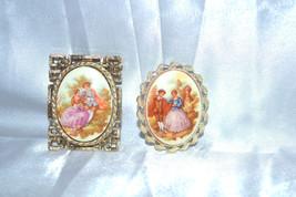 Vintage Fragonard Decaled 18thc Scene Convertible Brooch Pendants - $28.00