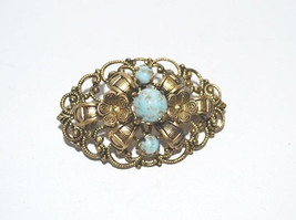 Vintage Layered Imitation Turquoise Matrix in Filigree Brooch - $12.00