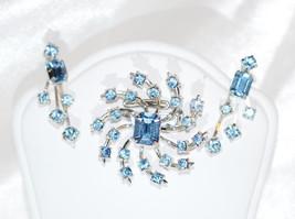 Signed Coro Blue Rhinestone Vintage Brooch Earrings Set - $48.00