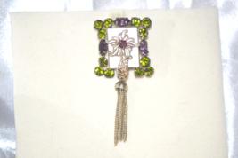 MOP Amethyst Olive Rhinestones Metal Accents Vintage Pin - $10.00