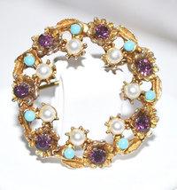 Faux Pearl Turquoise Rhinestone Vintage Circle Pin - $12.00