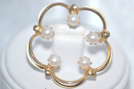 Signed Hobe Simulated White Pearls in Open Work Vintage Brooch - $38.00
