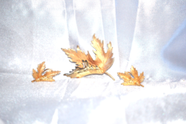 Vintage Folded Gold Tone Leaf Brooch and Earrings Matched Set - $24.00