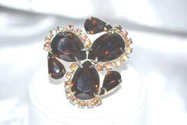 Vintage Juliana DeLizza Elster Tortoise Stripe Rhinestone Brooch - $38.00