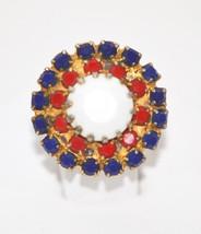 Vintage Patriotic Red White Blue Milk Glass Adjustable Ring - $16.00