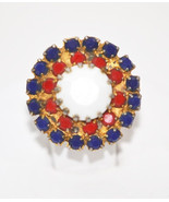 Vintage Patriotic Red White Blue Milk Glass Adjustable Ring - $16.00