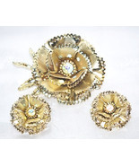 Vintage Layered Rose Flower Brooch and Matching Earrings - £13.49 GBP