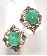 Vintage Faux Jade Damascene Screw Back Earrings - $19.26 CAD