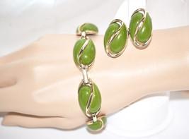 Vintage Coro Avocado Lucite Bracelet and Earrings Matching Set - $38.00