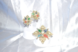 Vintage Signed Sarah Coventry Galaxy 1964 Brooch Earrings Demi - $39.00