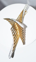 Vintage Signed Boucher Wings Brooch with Rhinestones - $36.00