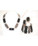 Vintage Faux Onyx Chunky Necklace Bracelet and Earrings Set - $68.00
