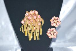 Vintage Designer Quality Brooch Earrings Czech Art Glass Demi - $78.00