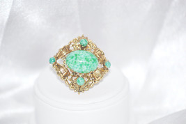 Vintage Czechoslovakia Green Peking Glass Pin - $22.00