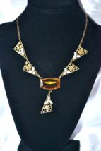 Vintage Art Deco Topaz Brown Stone Filigree with Enamel Necklace - $129.00