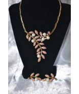 Vintage 1980s Segmented Bib Flower Spray Pink Rhinestone Demi - $52.00