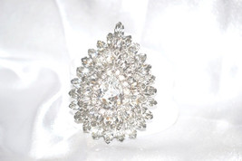 Vintage Layered Clear Rhinestone Convertible Pendant Brooch - $42.00
