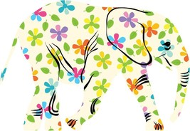 HAPPY ELEPHANT Colorful Flowers Decal Die-Cut Wall STICKER Decor Art Mur... - $15.85 CAD+