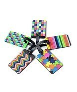 yueton 5pcs Colorful Tetris Pattern Rubber ID Tags Business Card Holder for - $15.99