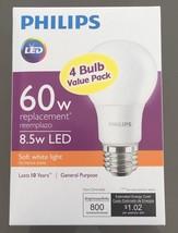 Philips 60W Equivalent Soft White A19 LED Light Bulb  (4-Pack) 3YR MF Wa... - €9,29 EUR