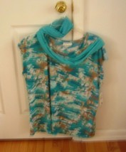 Lady's Multi Colored Top With Scarf Sz 2X For Spring & Summer Nwt - $6.92