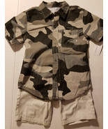 Calvin Klein Jeans Boys 2 Piece Short Set  Gray Black Camo Size 4 NWT - $23.99