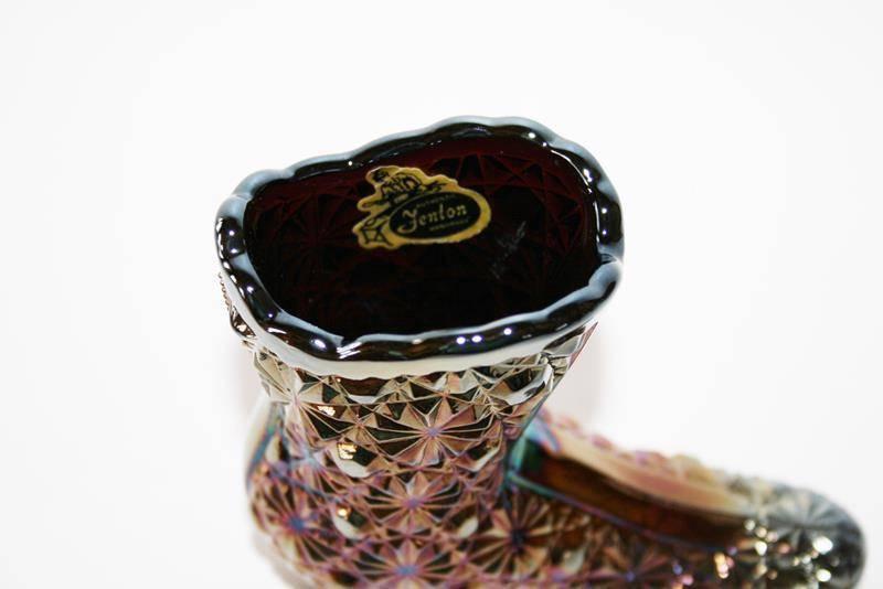 Fenton Glass Amethyst Carnival Daisy & Button Shoe Boot  #1609 image 5
