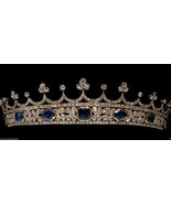 Princess Antique INSP 9.20Ct Rose Cut Diamond 92.5% Silver Tiara Crown C... - $638.34