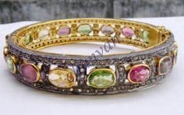 Vintage Look 5.10CT Rose Cut Diamond 925 Silver Multicolor Fine Bracelet... - $471.76