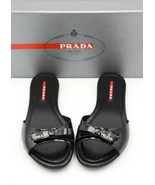 NIB Prada Black Patent Leather Bow Logo Slides Sandals New 5.5  35.5  - $245.00