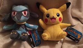PIKACHU & RIOLU Pokemon Plush Bundle Lot Stuffed Toys by Tomy 2016 Pokem... - $29.99