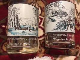 Currier & Ives Arby's Christmas Glasses Set Of 2 Vintage Colllectibles A... - $24.00