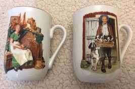 2 NORMAN ROCKWELL MUGS PUPPY LOVE & DREAMS IN THE ANTIQUE SHOP, Vintage ... - $16.99