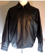 St Johns Bay Mens Black Leather Bomber Jacket with Zipout Lining Size M ... - $149.95