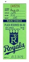Kansas City Royals Rain Check Ticket Plaza Reserved $6.00 Price  - $17.82