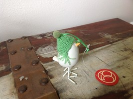 Miniature white ceramic bird w feet w knit hat color choice dept 56 new image 4