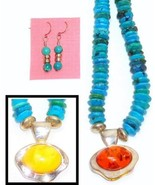 Thick Turquoise Beaded Necklace Reversible Ambe... - $69.95